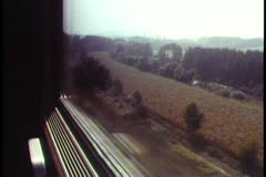 POV from train window in Austrian alps, scenic shot, moving Stock Footage