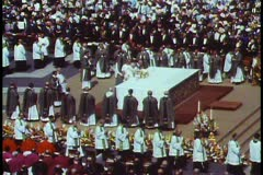 Rome, The Vatican, Papal Mass, priests in procession - stock footage