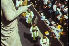 Rome, The Vatican, Papal Mass, close up priests passing crowdd - stock footage