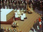 Rome, The Vatican, Papal Mass, Pope John Paul seated in front of altar Stock Footage