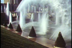 Paris,  The fountains of the Trocodero, wide shot, giant watery display - stock footage