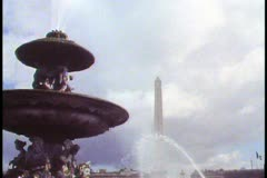 Paris,  Place de la Concorde with fountain in foreground, classic view Stock Footage