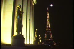 Paris, Paris by night, monuments floodlit, Eiffel Tower Stock Footage
