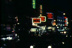 London,  at Night, Shaftsbury Avenue, buses, theatre marquees Stock Footage