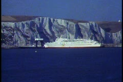 White Cliffs of Dover, medium shot, POV moving past on ferryboat Stock Footage