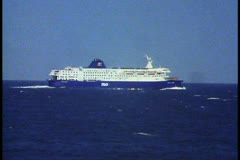 Ferryboat crossing English Channel, medium shot, boat sailing Stock Footage