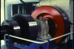 The Netherlands, Pumping station, hydro equipment, spinning red wheel Stock Footage