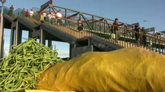 Vegetables are for sale in China, large stairway in the background Stock Footage