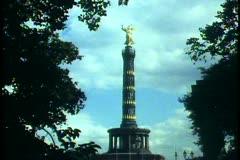 Berlin,  Victory Column, wide shot, framed in trees Stock Footage