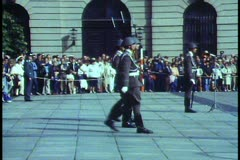 East Berlin,  1988, soldiers goose step, military band, glockenspeil - stock footage