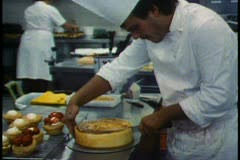 Vienna, Pastry shop, the Oberlai, cutting cheesecake, pastry chef - stock footage