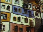 Stock Video Footage of Vienna,  Hunterwasser Apartments, colorful, lively, art noveau
