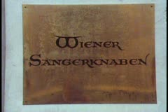 Vienna, Vienna Choir Boys, close up of sign Wiener Sagerknabben Stock Footage