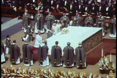 Rome, The Vatican, Papal Mass, Pope John Paul holds host above altar - stock footage