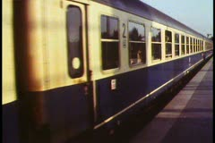Rome,  Train leaves Termini station, medium close up Stock Footage