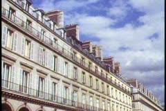 Paris,  Rue du Rivoli, wide shot of arcade, traffic in front, busy Stock Footage