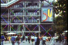 Paris,  George Pompidou Center, wide shot, people low in shot Stock Footage
