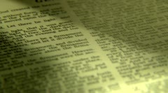 Bible tilt up page Stock Footage
