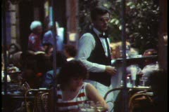Paris, Paris at night, Cafe de la Paix, close up, waiter Stock Footage