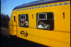 Eurorail train, POV from train, another yellow train passing faster Stock Footage