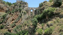 Spain Andalucia Ronda bridge from distance Stock Footage