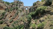 Stock Video Footage of Spain Andalucia Ronda bridge from distance