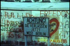"""Berlin,  """"Achtung"""" sign, graffiti, Berlin Wall, Brandenburg gate - stock footage"""