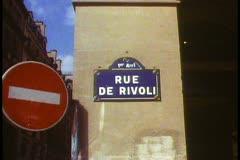 """Paris,  """"Rue du Rivoli"""" street sign medium, zoom in close up Stock Footage"""