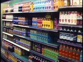 Berlin, Germany, Europa Center, interior, supermarket aisle, bottles Stock Footage