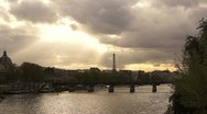 Sunset after Paris city with Eiffel Tower and bridge Stock Footage