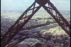 Paris,  The Eiffel Tower, POV from elevator rising through the girders Stock Footage