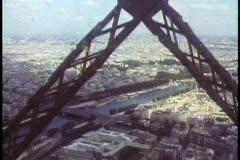 Paris,  The Eiffel Tower, POV from elevator rising through the girders Stock Footage