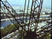 Stock Video Footage of Paris,  The Eiffel Tower, POV from elevator rising through the girders