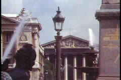 Paris,  Place de la Concorde, close up through fountain to Madeleine Stock Footage