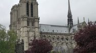Notre Dame, the most famous Cathedral in Paris Stock Footage