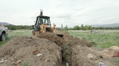 Farm irrigation work P HD 0049 Stock Footage