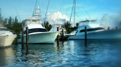 Isla mujeres luxury fishing boats mexico caribbean Stock Footage