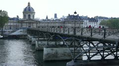 Some scenes of daily Paris, Ponts des Arts Stock Footage