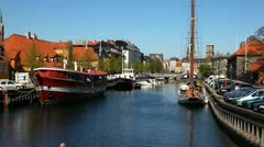 Sailing in the city of Copenhagen - stock footage
