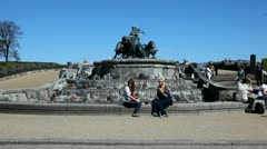 Tourists by the Gefion Fountain - stock footage