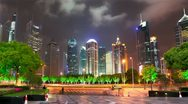 Stock Video Footage of Shanghai Pudong Modern Financial Center. Timelapse.