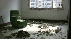 Inside a room of a demolished apartment block in Qingdao, China Stock Footage