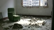 Stock Video Footage of Inside a room of a demolished apartment block in Qingdao, China