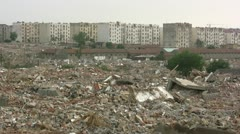 Overview of a destroyed old quarter in the suburbs of Qingdao, China Stock Footage