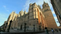 Salamanca cathedral wide angle Stock Footage
