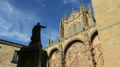 Salamanca statue and cathedral 3a Stock Footage