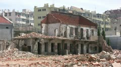 Demolition site in China next to the railway tracks Stock Footage