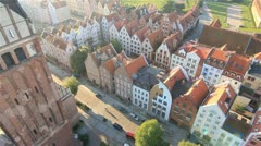 Heli flight next to St. Nicholas Cathedral and view on the Old City in Elblag Stock Footage