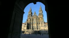 Santiago cathedral and arch 10 Stock Footage