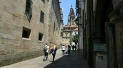 Santiago church and street with toursts Stock Footage